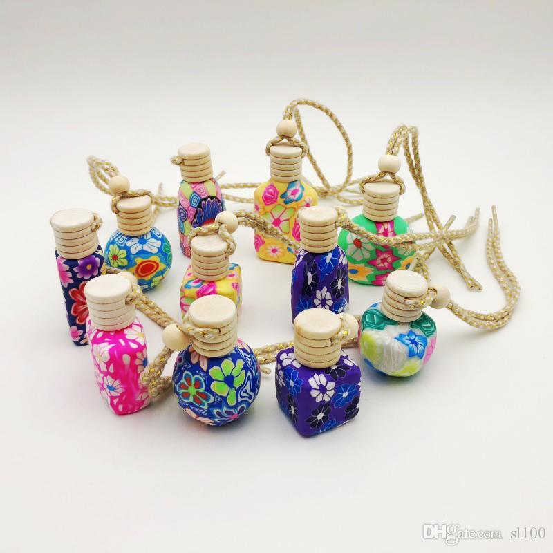 10-15 ml corde de suspension de voiture vide décoration bouteille faite à la main argile polymère bouteille de parfum en céramique huile essentielle avec couvercle en bois