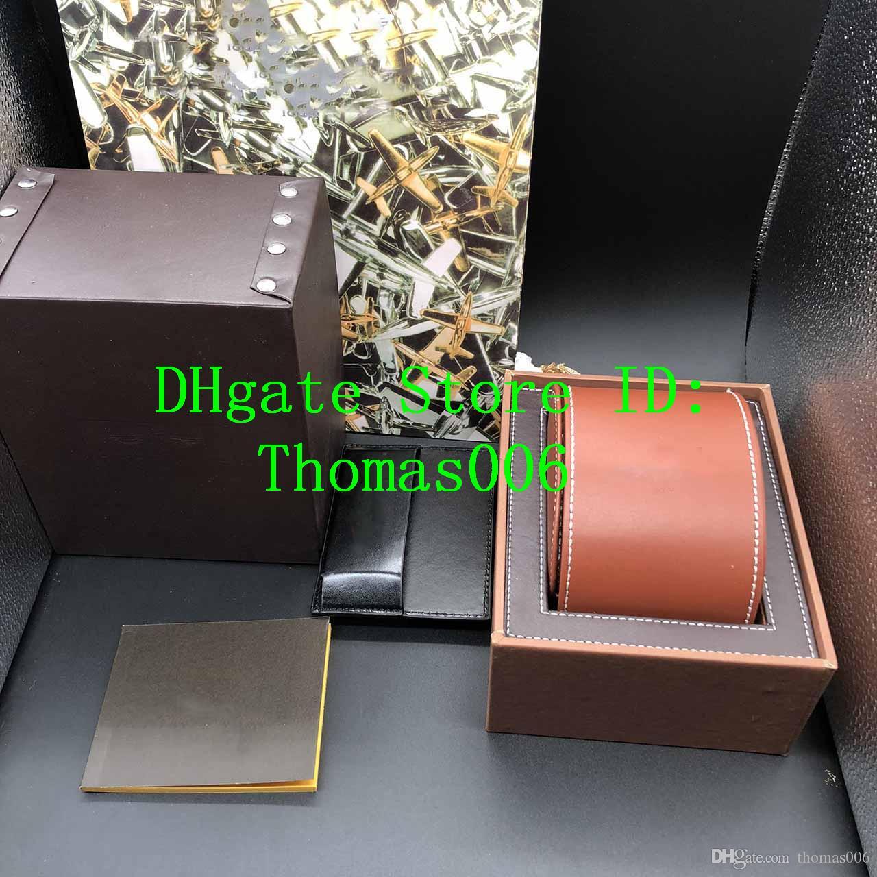 İyi Kalite Kahverengi Renk leathe Kutular Hediyelik Kutu 1884 İzle Kutusu Broşürler Kartları Siyah Ahşap Kutu İçin İzle Belgesi Yeni Çanta dahildir