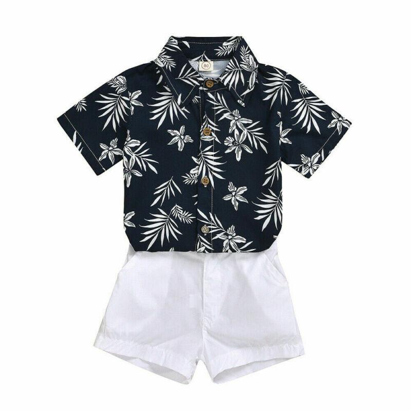 2pcs del niño de los niños del bebé de la ropa de la hoja de impresión T tapas de la camisa + pantalones cortos Niños equipos del verano Conjunto 6M-5T