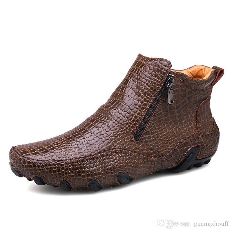 2019 New Autumn Winter Fashion Men Boots Vintage Style Casual Men Shoes High-Cut Lace-Up Men Warm Boots