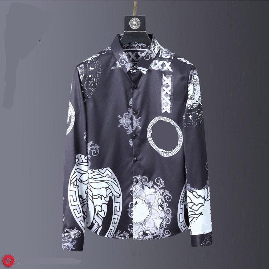 2020 Erkekler Baskı ince uygun Gömlek Erkek Sonbahar uzun kollu gömlek Erkekler kesim uzun çiçek gömlek M-XXXL