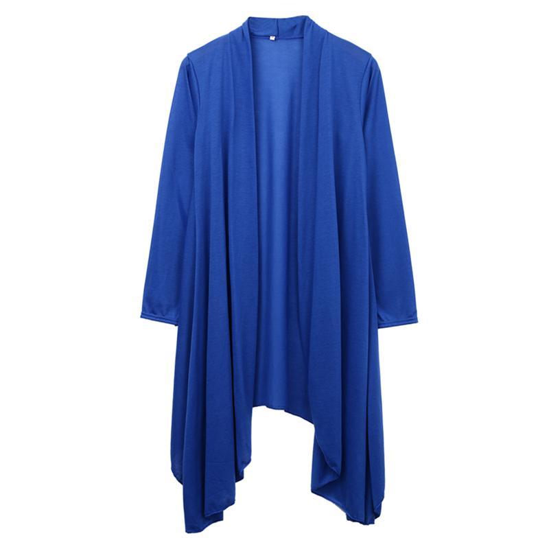 Свитер женщины полная длина макси кардиган повседневный открытый фронт сплошной длинный рукав карманное пальто зимняя одежда кардиган дамы