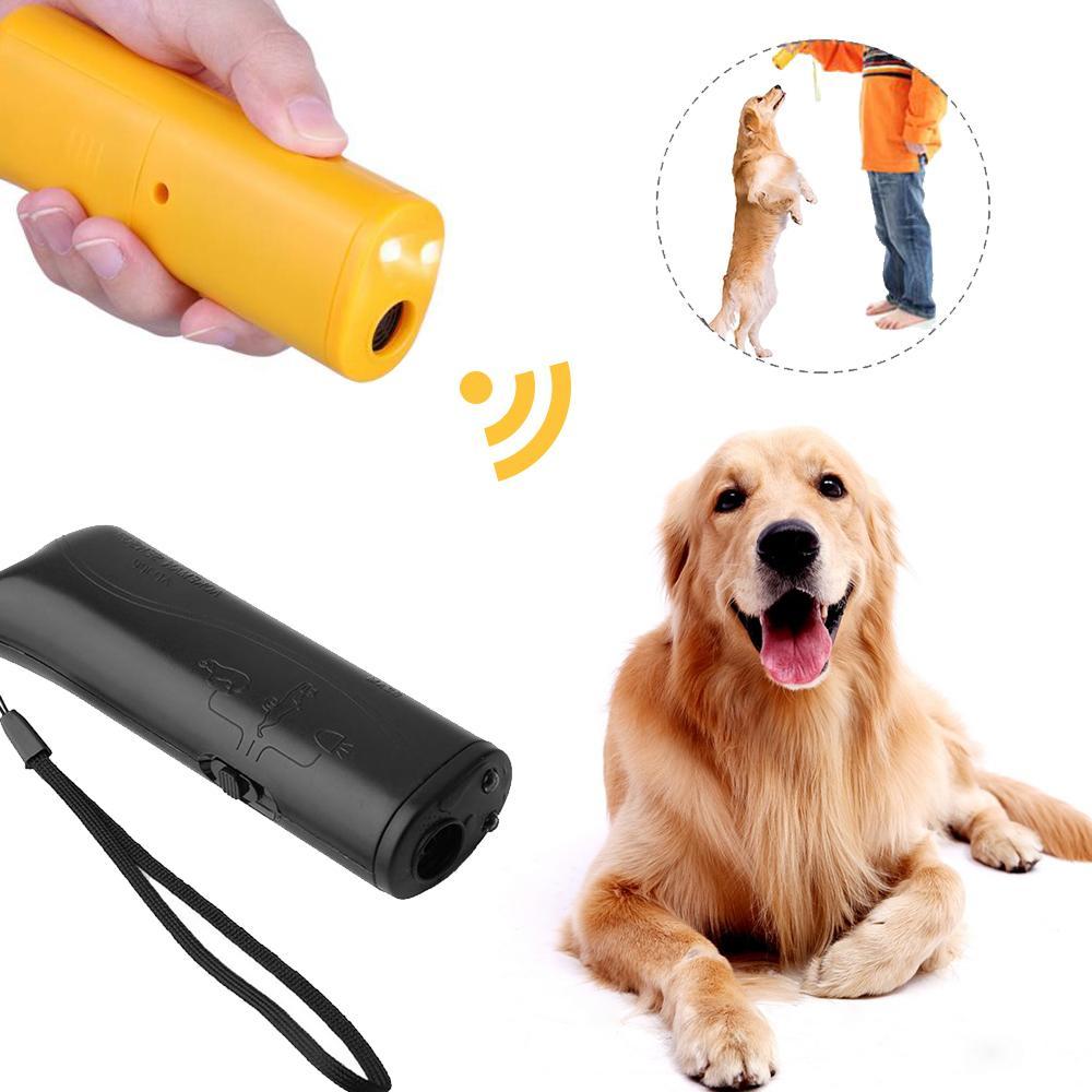애완 동물 개 펠러 안티 짖는 중지 껍질 훈련 장치 트레이너 LED 초음파 3IN1 안티 짖는 초음파