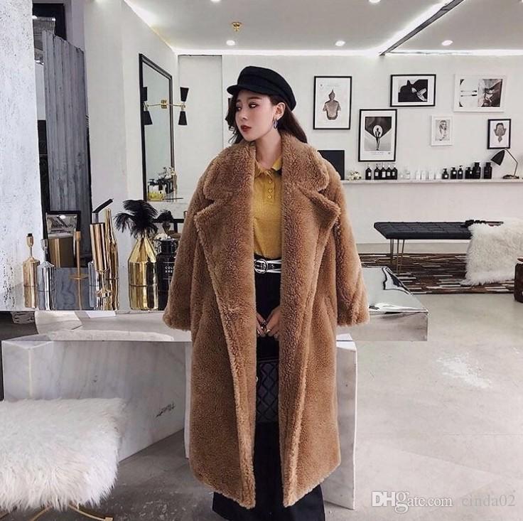 وردي طويل تيدي بير سترة معطف الشتاء النساء سميكة دافئ المتضخم مكتنزة خارجية المعطف المرأة فو امبسوول معاطف الفراء