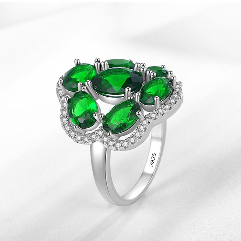 New Fashion Wedding Rings for Women Genuine Solid 925 Sterling Silver Engagement Ring Fashion Green CZ Zircon Crystal Jewelry Gift XR337