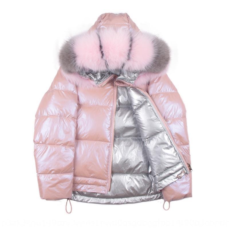 yqnW6 corta zvGXk de las mujeres espesa 2019 abajo cuello de piel de zorro de doble cara desgaste brillante línea roja rosa de plata nueva capa de la chaqueta abajo chaqueta larg
