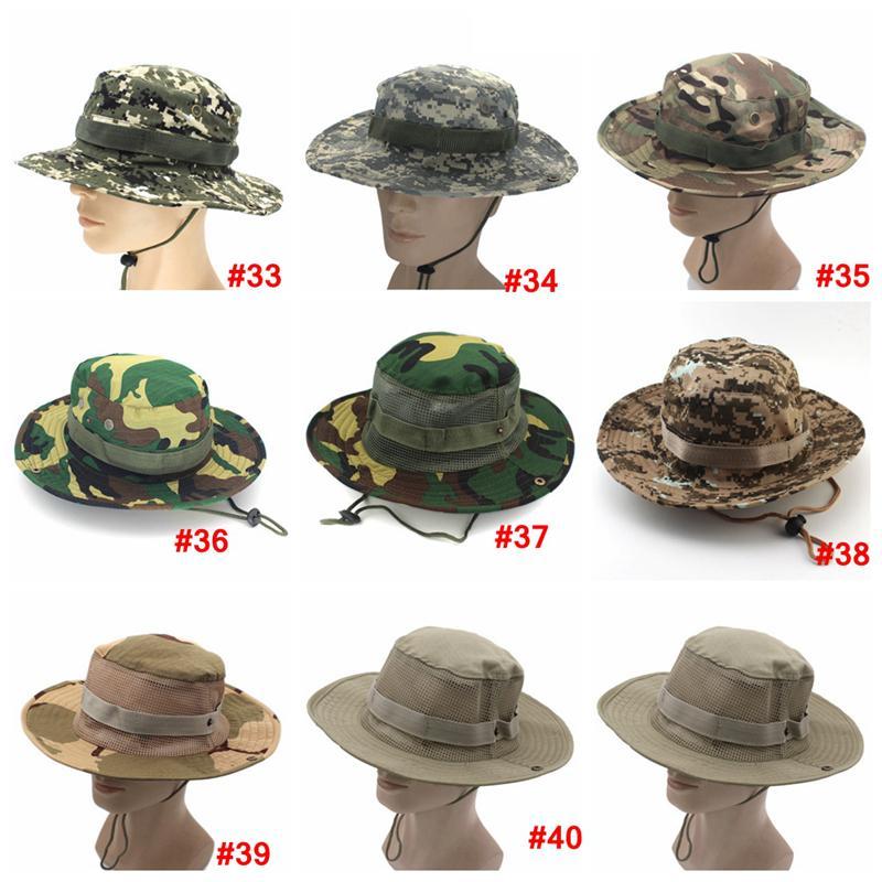 Katlanabilir Ordu Kova Şapka Spor Balıkçılık LJJA3704 için Kamuflaj Jungle Askeri Cap Yetişkin Erkekler Kadınlar Kovboy Boonie Şapkalar örgü açık