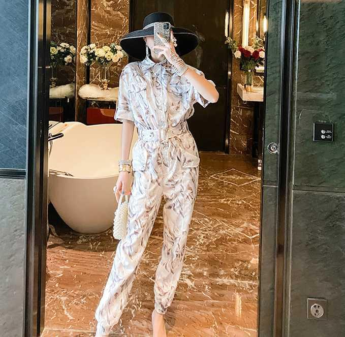 A600502 Fashionable jumpsuit short-sleeved Xiaoxi's fit body was thin pants 2020 summer casual suit jacket jumpsuit female