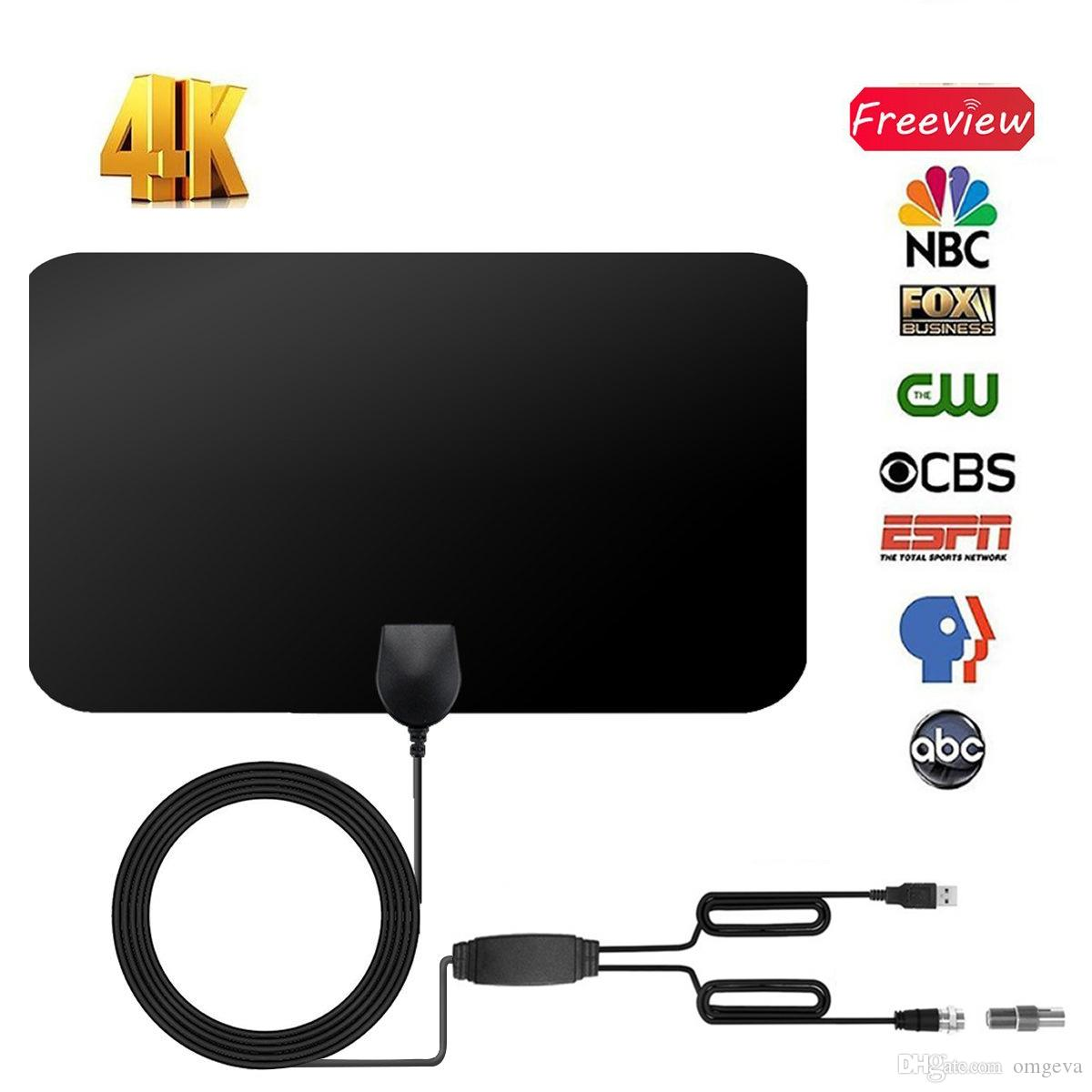 Indoor Digital Antenna HDTV with Signal Amplifier 25dBi Aerial Flat Design Mini Hot Selling TV Receiver New style Skywire 4K Antenna