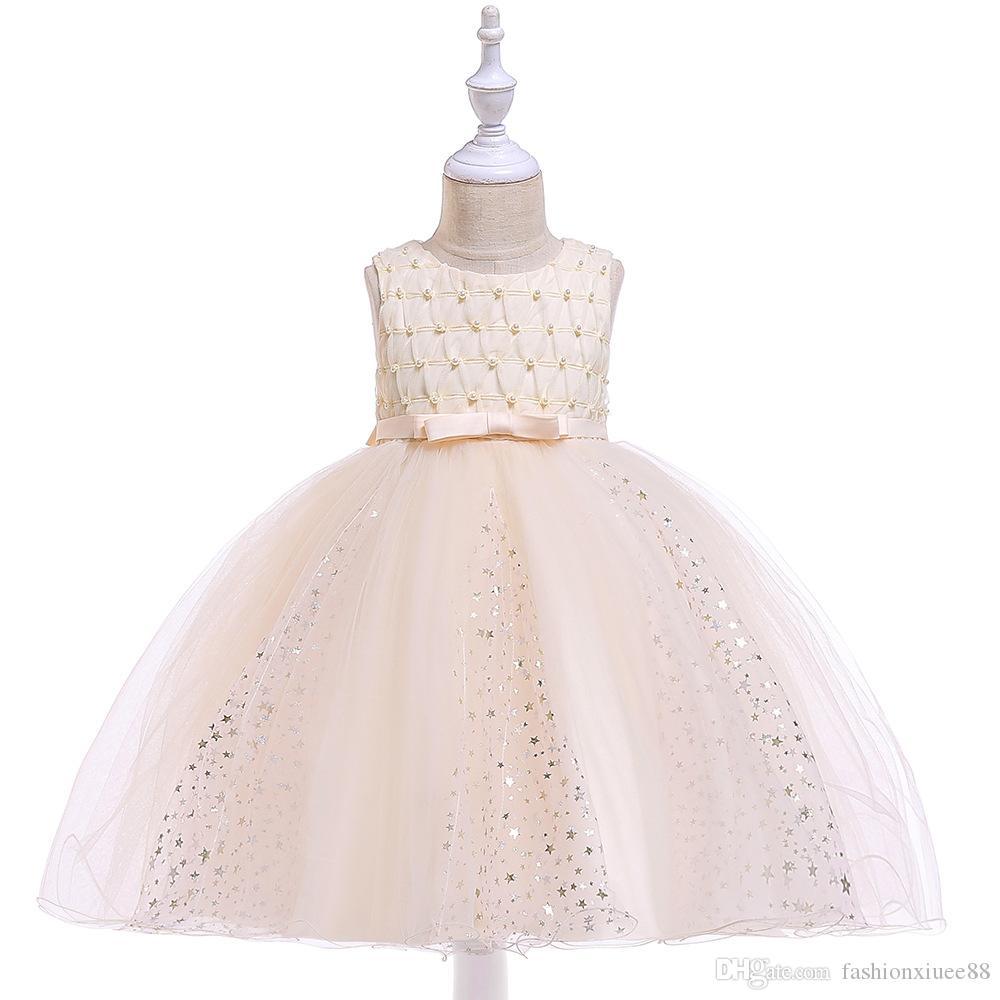 Ballgown Sleeveles Pageant платья платья цветочные девушки День Рождения платья с жемчугом LittlGirl платья на складе