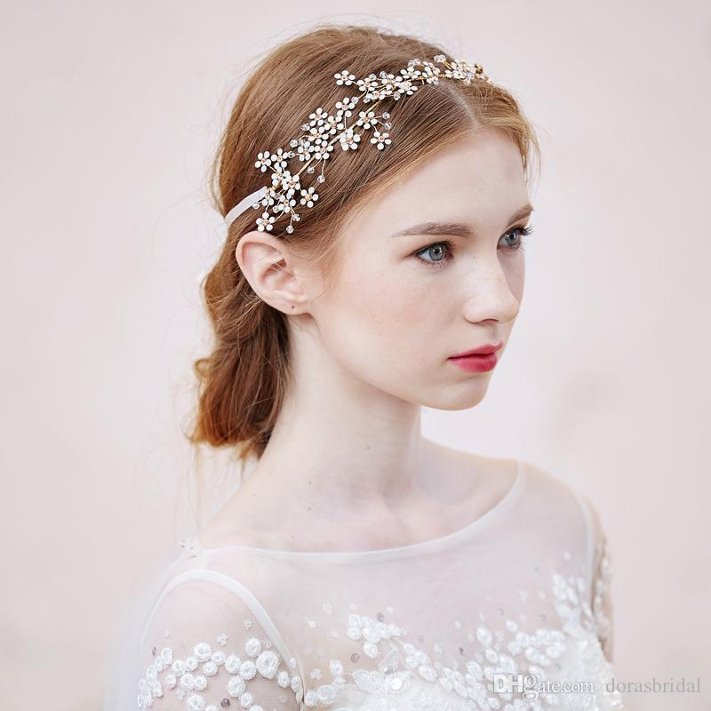 New Bridal Headbands With White Opal Crystals Rhinestones Flowers Women Handmade Hair Jewelry Wedding Headpieces Bridal Accessories O507