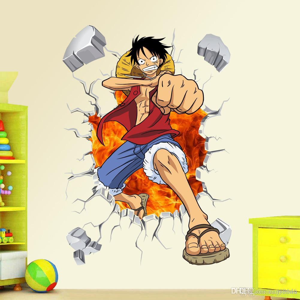 3d One Piece Wall Decals Multicolor Monkey D Luffy Wall Vinyl Sticker For Kids Room And Nursery Decoration Wall Art Stickers Uk Wall Art Tree Decal