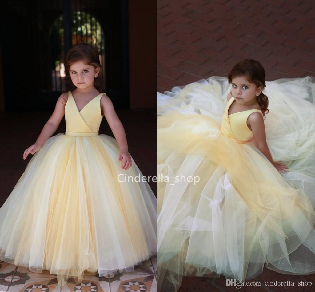 großhandel schöne gelbe ballkleider blumenmädchenkleider v ausschnitt  Ärmellose kinder partykleider arabisch günstige mädchen formelle anlässe  kleider