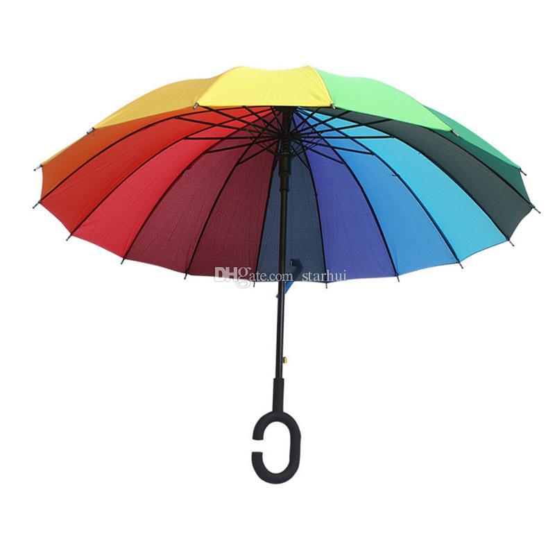 C 후크 레인보우 우산 롱 손잡이 16 K 스트레이트 Windproof 다채로운 명주 우산 여성 남성 햇빛 우산 우산 DHL WX9-637