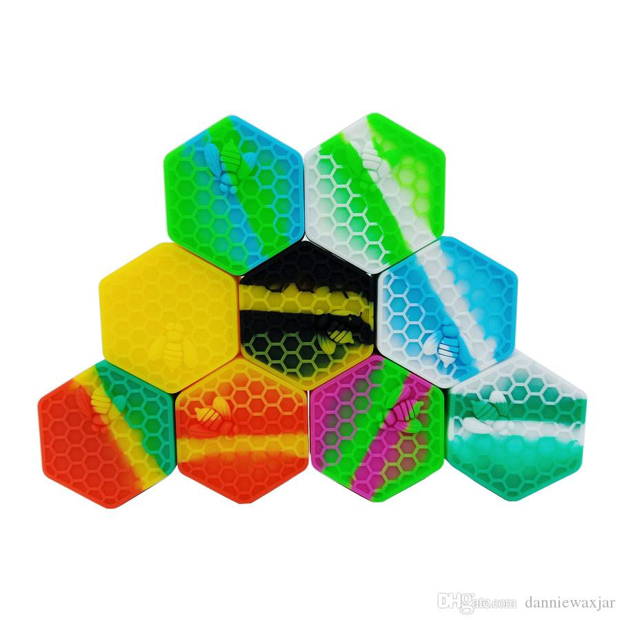 MOQ=2PCS FDA Food Grade Silicone Box Honeybee 26ML Wax Container Silicon Case Non-stick Hexagon Dab Container Jars For Vaporizer Oil Solid