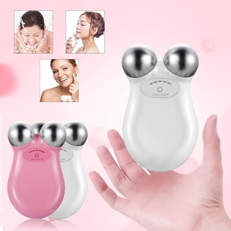 Enfrente a máquina de elevação da pele apertando a tonificação ajustado Microcurrent Massageador Facial Beleza Antiaging Remova a massagem do dispositivo de enrugamento