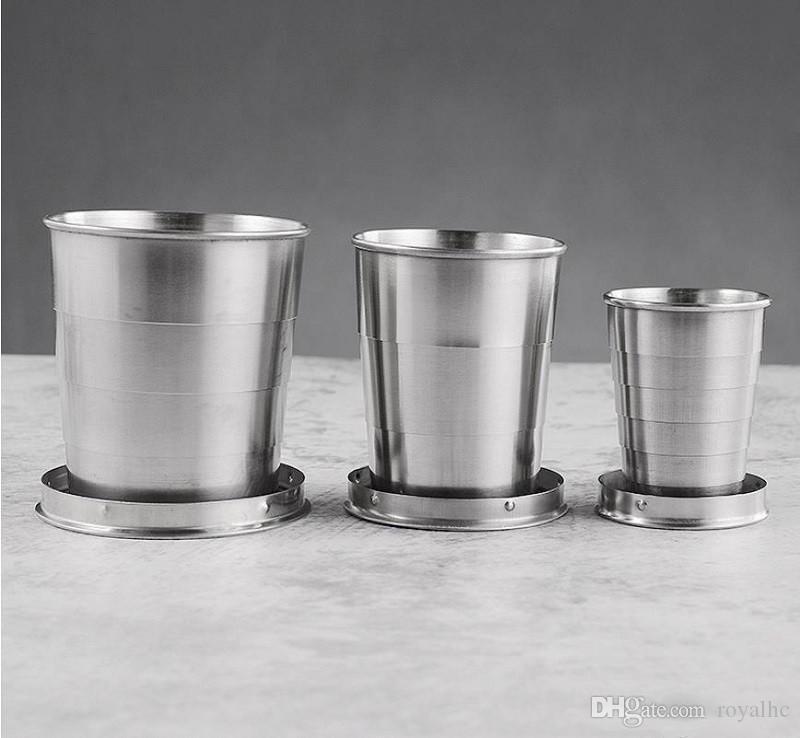 150ml를 텔레스코픽 컵 접는 와인 텀블러 접이식 물 잔 스테인레스 스틸 이중 벽으로 둘러싸인 머그잔 야외 캠핑 휴대용 컵