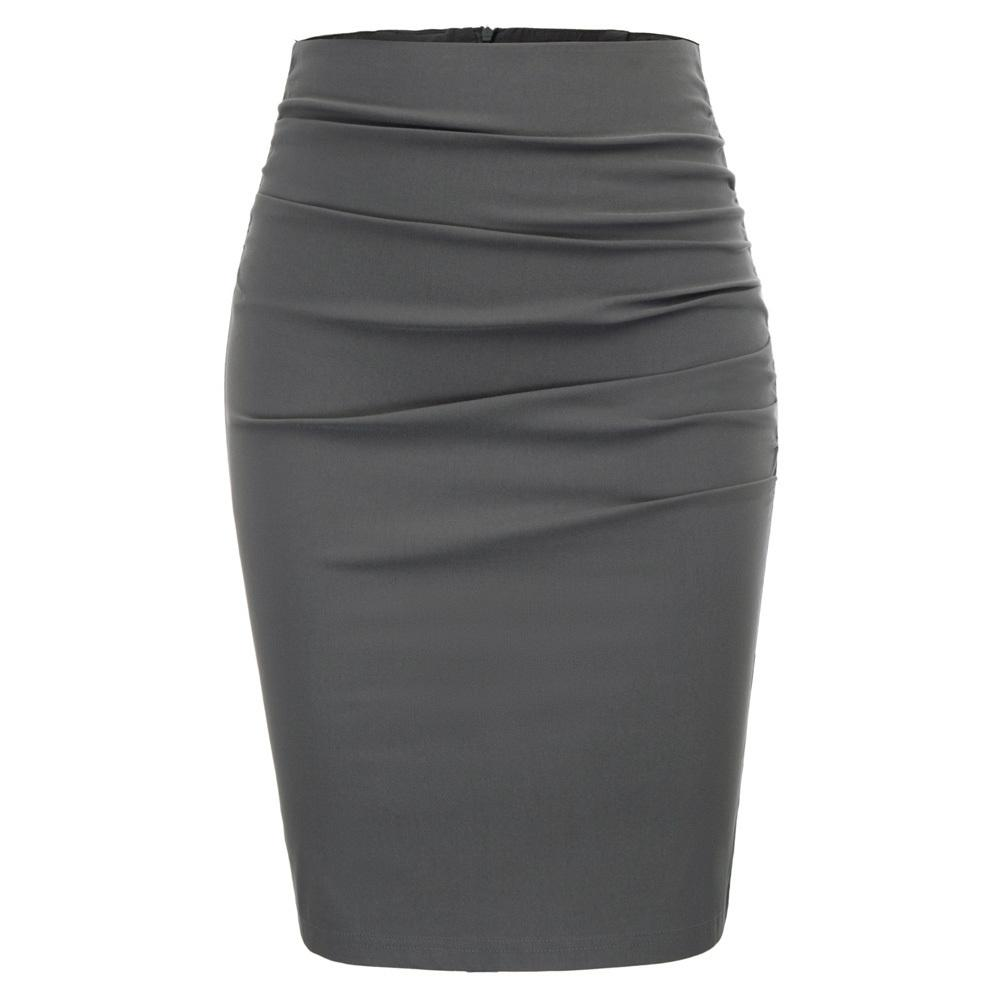 Gk Ladies Skirt Work Wear Party Office Women Vintage Solid Color Ruched Front Skirt Classy Hips-wrapped Bodycon Pencil Skirt Y19060301
