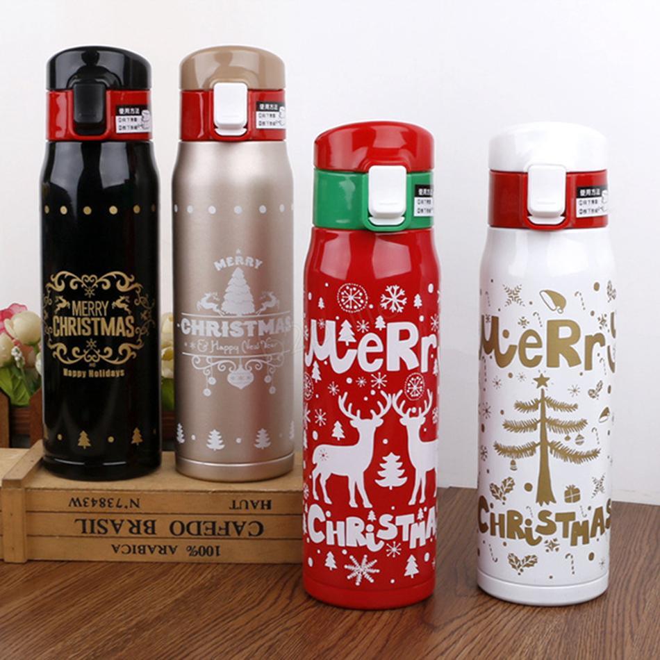 Bouteille d'eau de Noël 500 ml De Noël Double paroi d'impression en acier inoxydable gobelet Vacuum Voyage Sport Thermos flacons café tasse tasse LJJA2920