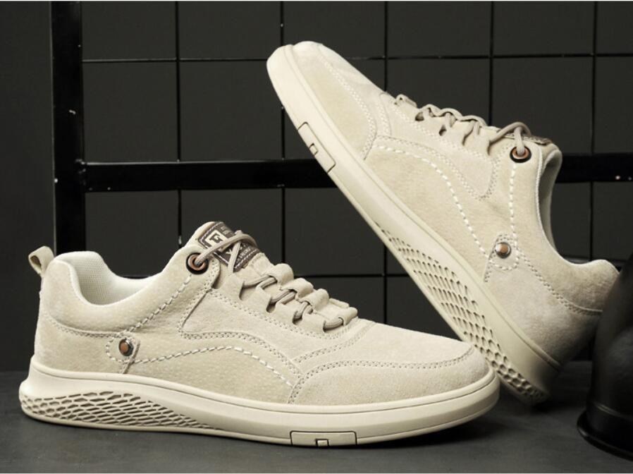 Männer echtes Leder-beiläufige Schuh-Turnschuh-Männer Schuhe Beleg auf Gummischuhe Fashion Lace-Up Wohnungen DA23