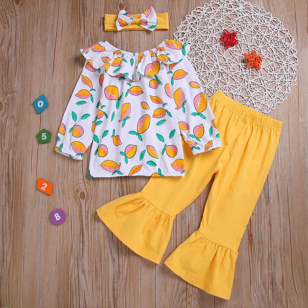 Long Sleeve Kids 3pcs Set Top+flare Pants+headwear Girl Clothes Autumn Children Sets Fashion Cute Toddler Suit