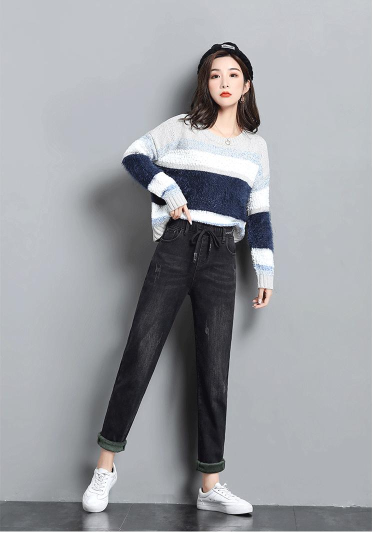 Colore Chiaro Nero E Velluto Jeans Loose Women Elastico In Vita A Vita Alta Più Inverno Caldo Pantaloni Per Il Tempo Libero Harlan Rapa Pantaloni