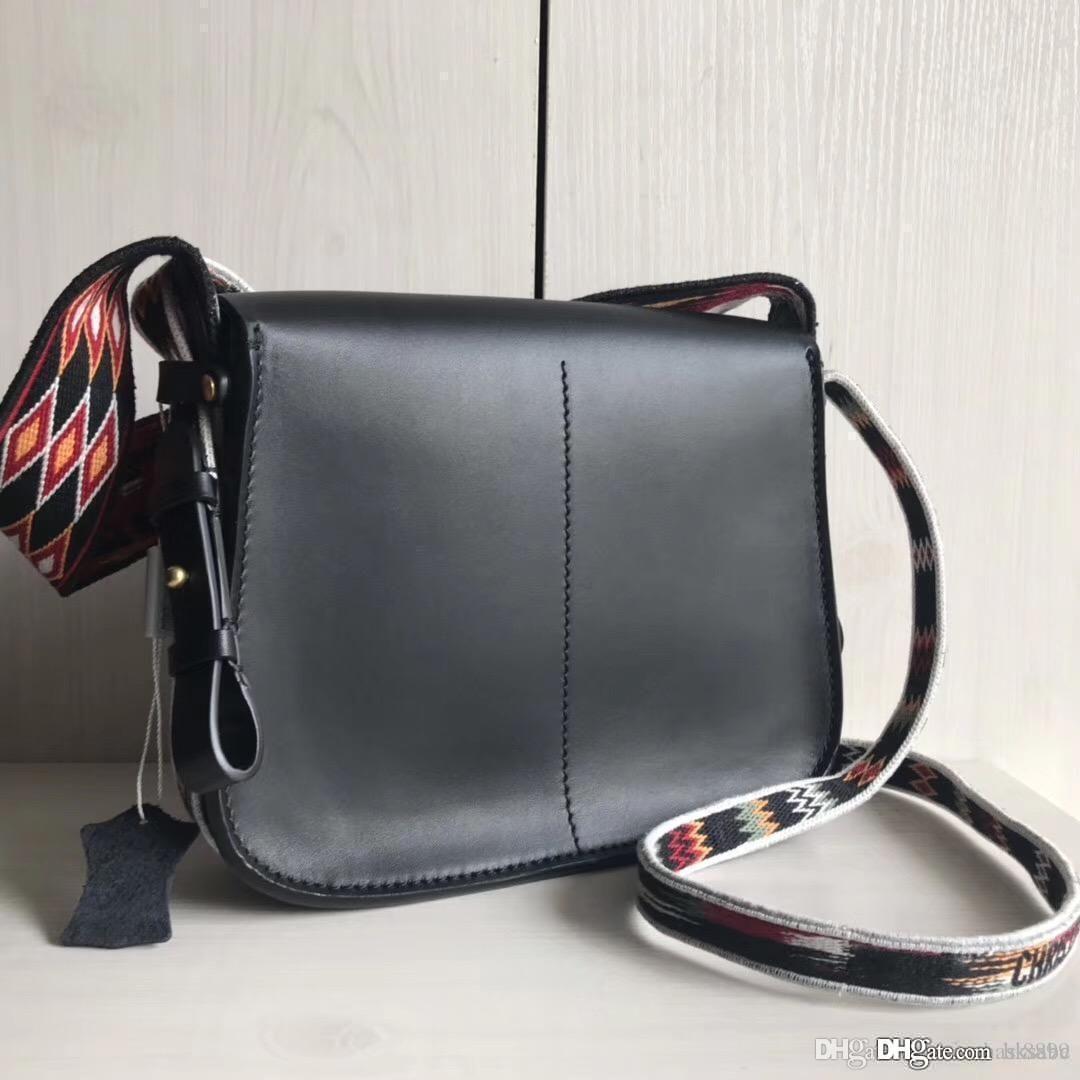 Mulheres 2019 novos de couro genuíno de embreagem Bolsas cintas clássico senhora Flap do arco-íris Odeo Crossbody qualidade superior sacos de ombro de couro genuíno 25cm
