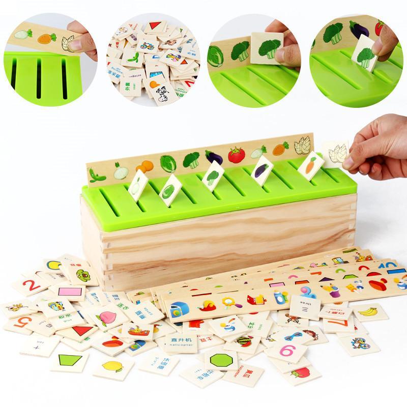 Montessori Éducatifs En bois jeu reconnaissance Jouet Bébé Enfants Apprentissage Classification boîte puzzle Jouets Pour Enfants Mathématiques Jouet Y200413