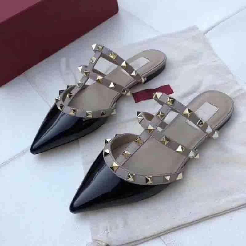 as mulheres sapatos de salto alto sapatos sandálias de couro genuíno loafer verão sapatos rebite de alta qualidade plana chinelos 2020