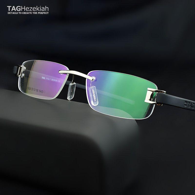 Безрамных очки кадров мужчин TAG очки кадры мужчин Близорукость компьютерных оптические очки кадр Ultralight зрелища движение