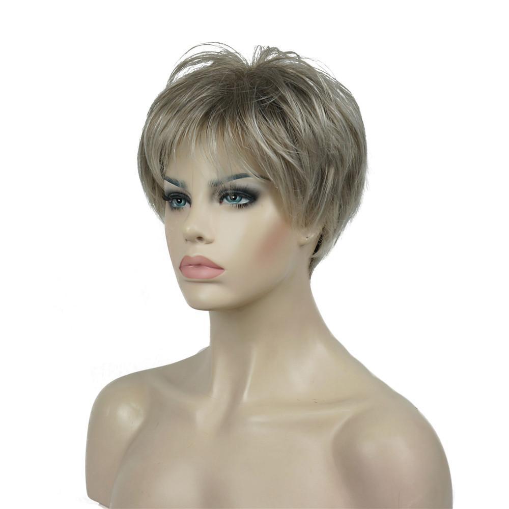 Peruca reta curta Natural Hai sintética Synthetic Nenhum-Lace Wigs StrongBeauty Mulheres sem tampa peruca loira / preto 11Color
