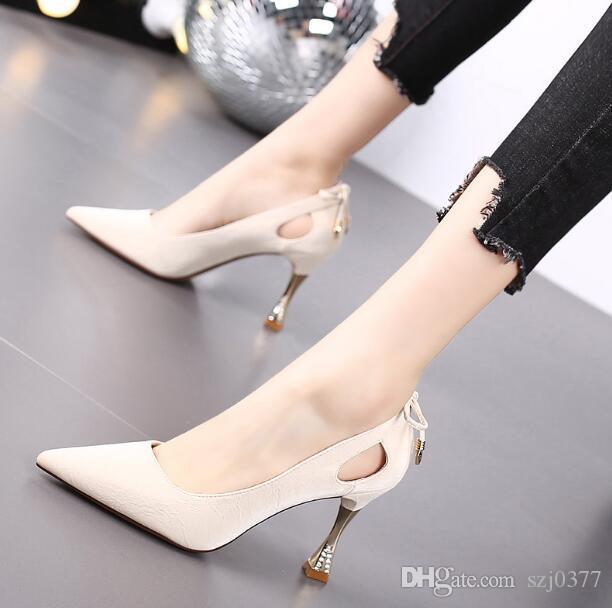Designer Frau Bowtie hoher Absatz Schuhe kleine frische sexy Stiletto-Kleid-Schuhe 8,5 cm spitzen Zehen Dame Cut-Outs Partei einzelne Schuhe mit Kasten