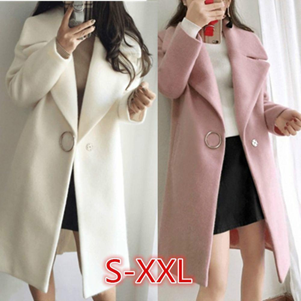 Moda Autunno Inverno lana del cappotto di trincea del rivestimento solido di colore Spesso Outwear femminile cappotto cappotti lunghi