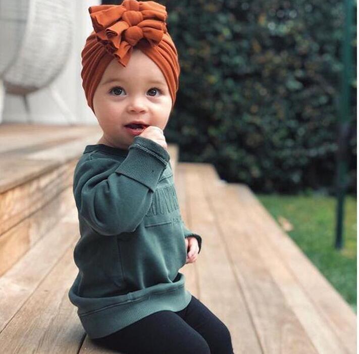 chapeau pour enfants pull-over automne et l'hiver cap nouveau chapeau bébé chapeau indien arc pli tissu tricoté doux