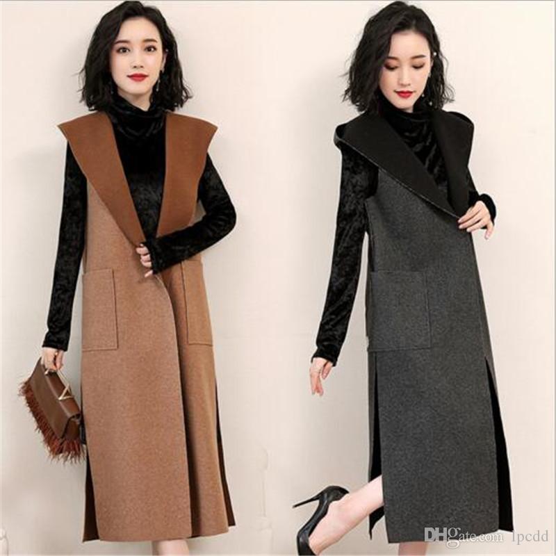 2019 automne nouvelle deux pièces ensemble femmes sans manches en laine à capuche gilet et col haut costume noir robe de bureau bas occasionnel manteau de laine