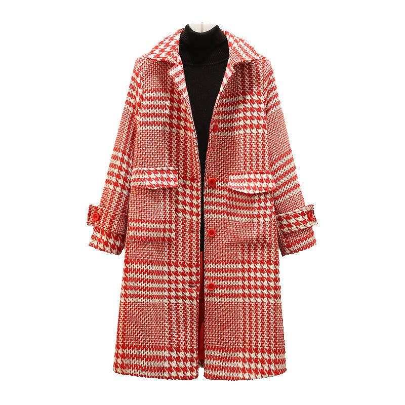 formato più 4XL autunno inverno plaid cappotto di lana donne nuove moda causale collare di Turndown lungo cappotto femminile