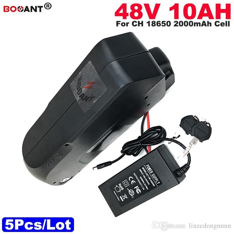 Großhandel 5pcs / Lot 48V 10AH E-Bike Batterie für Bafang BBS 800W Motor Elektrik Fahrrad Lithium Batterie 48V + 2A Ladegerät Freies Verschiffen