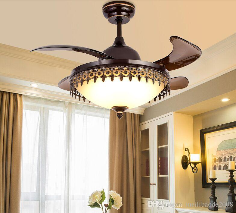 LED Ceiling Invisible Fan Lights Timing Remote Control Warm White Light Pendant Lamp Remote Control MYY