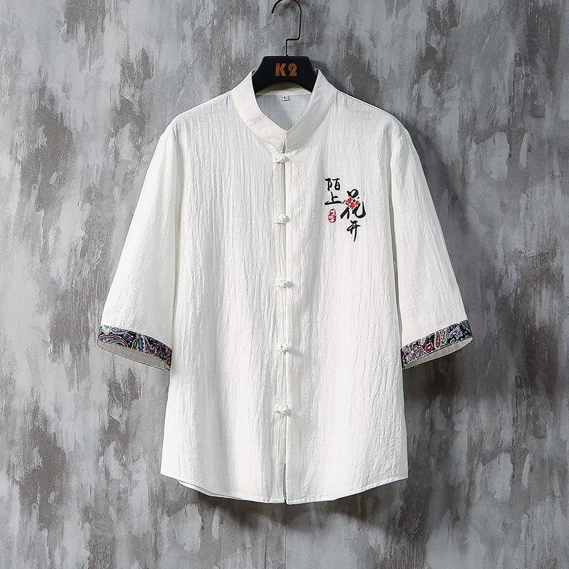 الرجال أزياء العلامة التجارية الشخصية الترفيهية الأعمال خمسة كم عطلة الصين انقسام قميص رجالي قمصان harujuku قميص هاواي