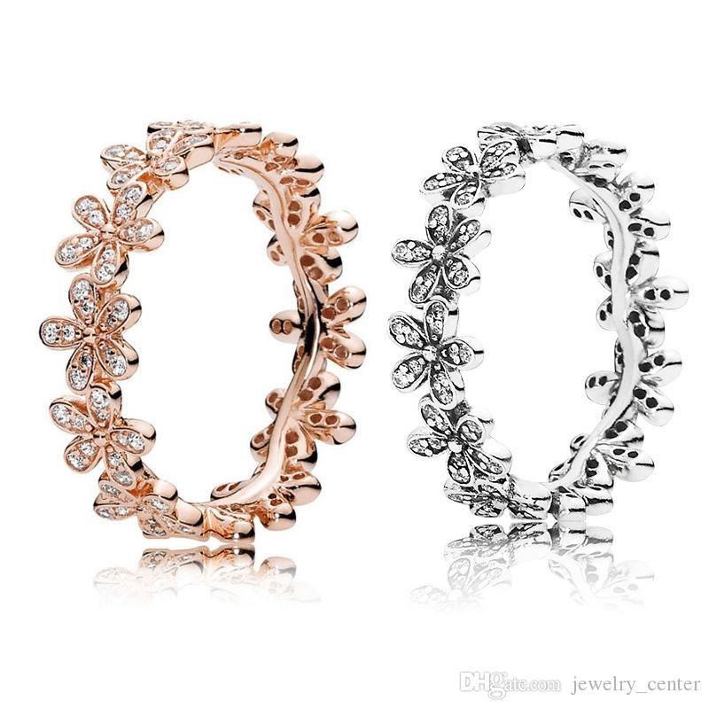 زهرة الأقحوان حلقة المربع الأصلي للباندورا 925 فضة CZ مجموعات الماس المرأة خواتم الزفاف