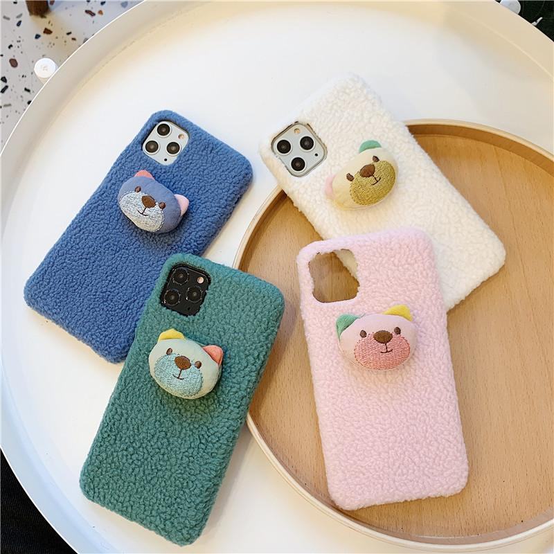 winter warm sherpa cute bear high quality cell phone case cover for iphone 11 pro max 6 6s 7 8 plus x xr xs max