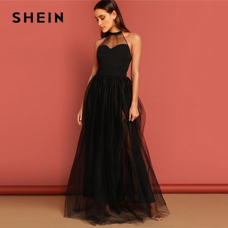 531ea2c432 SHEIN Black M-slit Mesh Overlay Halter Sheath Dress Elegant Plain Round  Neck Sleeveless Tank Maxi 2019 Women Summer Party Dress