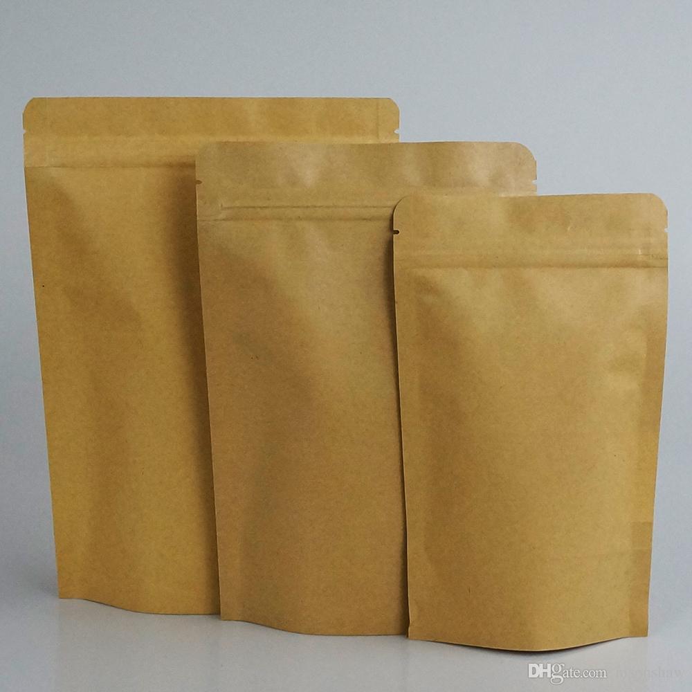 10 cm * 15 cm, 100 adet / grup ayakta iç alüminyum folyo kraft kağıt kilitli torba kullanımlık kahve çekirdeği fermuar kese, craft kağıt hindistan cevizi cebi