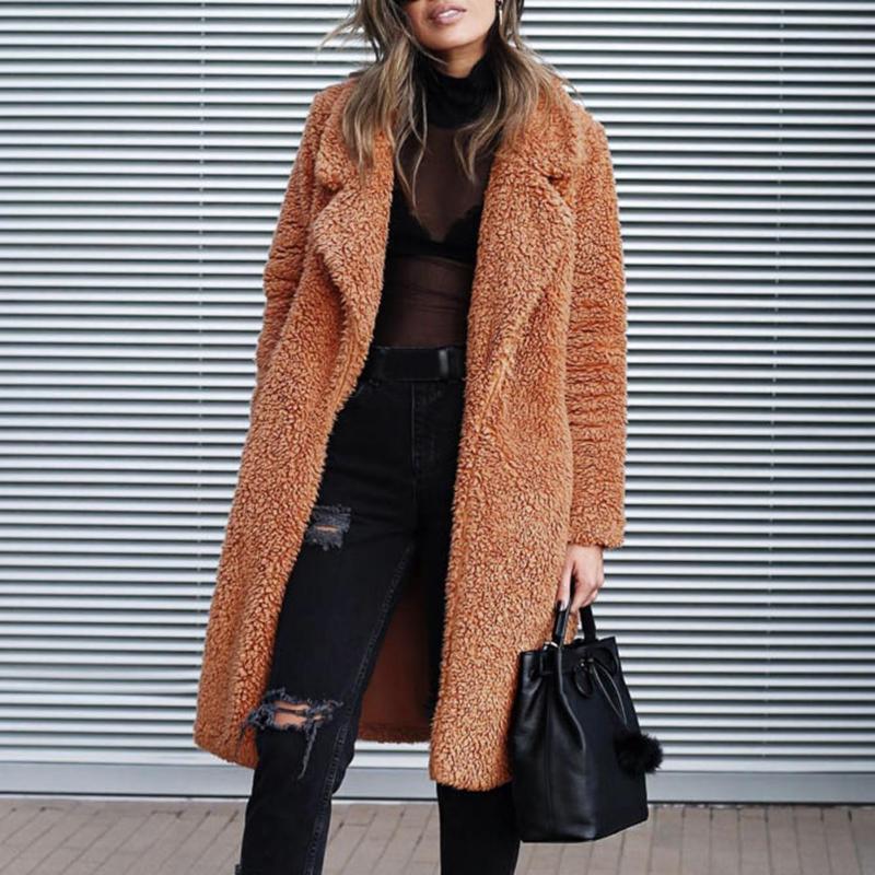 Frauen Winterjacke Open Front Cardigan Langen Mantel Stilvolle Winter Umlegekragen Jacken Einfarbig Taschen Klassische Oberbekleidung