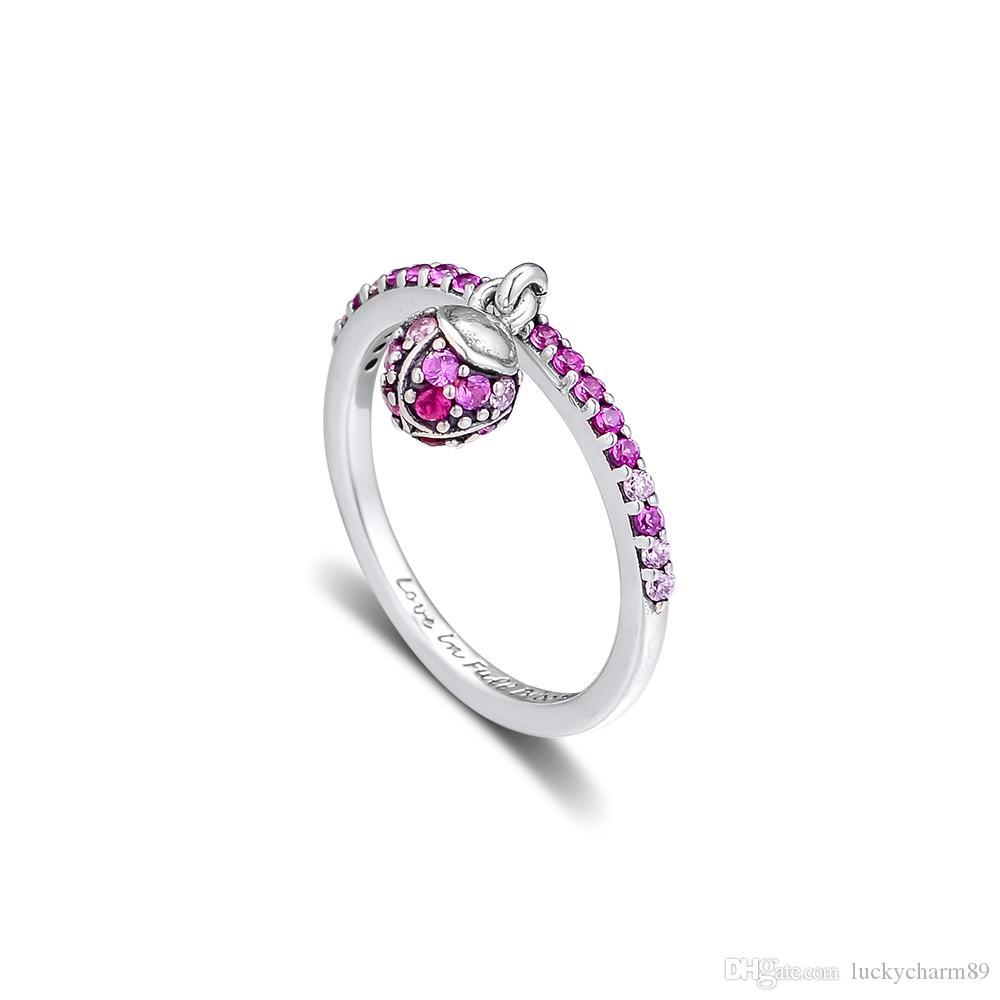 kiraz kristal yüzük gümüş moda Avrupa Pandora yüzük kolye kolye takı 56cm ile 925 ayar gümüş çiçek tomurcuğu gümüş yüzük