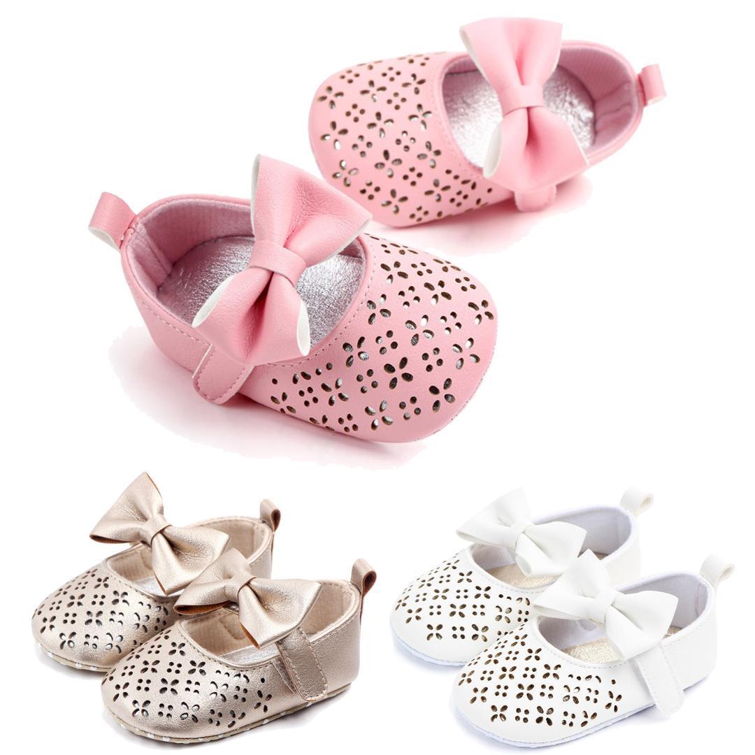 BK Scarpette da bambina Indoor Toddler Girls Pu Leather Primi camminatori Newborn Girl Hollowed-out Floral Shoes Scarpette da bambina per bambine
