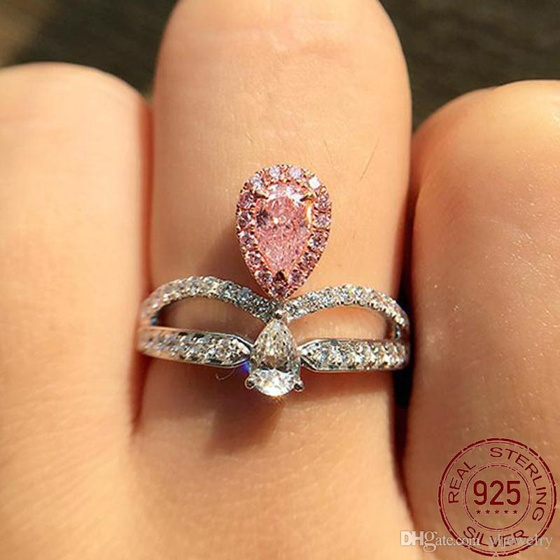 2 Colors Pink white Crystal Engagement Rings for Women Genuine 925 Sterling Silver Wedding Bands Jewelry Ring Gift XR223