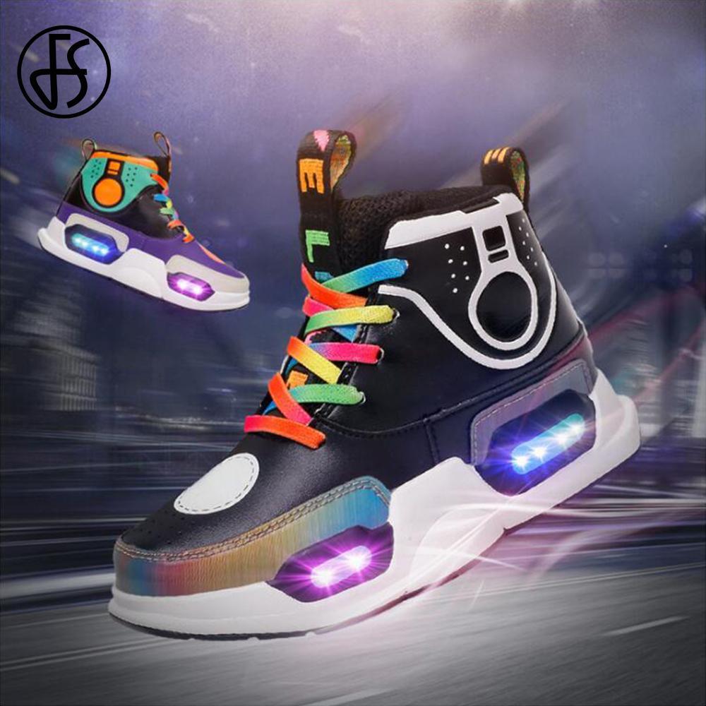 FS de carga USB de la lámpara LED super Light Up Zapatos para niños zapatillas de deporte de los niños Costura Leatcher baloncesto de los zapatos corrientes Fr Niños