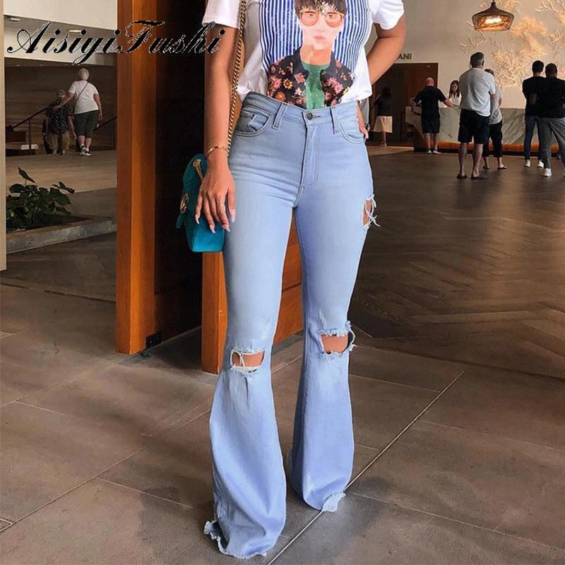 AISIYIFUSHI Kadınlar Yeni Sıkı Mavi Kadınlar Kot Pantolon Ripped Jeans Bell Alt Sıkıntılı Jeans Skinny Flare Pantolon Ripped