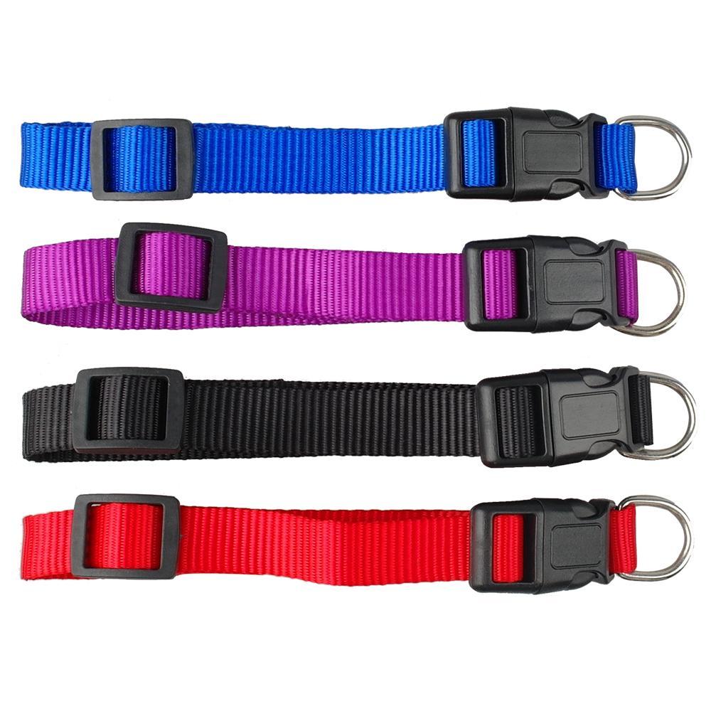 20pcs / lot Atacado coleira de cão Nylon baratos ajustável cães Coleiras para Pequenas e Médias Animais Gatos Vermelho Azul Preto Roxo